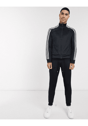 adidas ID 3- stripe snap track top in black