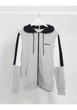 Jack & Jones colour panel sweat zip hood-Grey