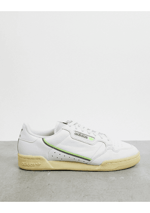 adidas original continental 80 vulc trainers in leather with green tab
