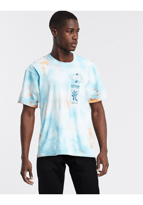 Edwin Self Examination tie dye t-shirt with back print in blue