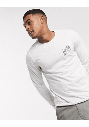 Jack & Jones Small chest logo long sleeve t-shirt-White