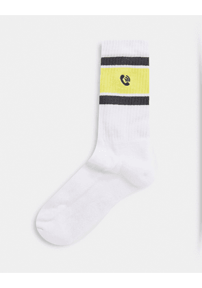ASOS DESIGN sport socks with phone icon embroidery-Multi