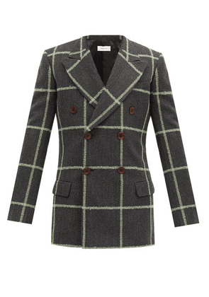 Wales Bonner - Soul Double-breasted Checked Wool Blazer - Mens - Grey