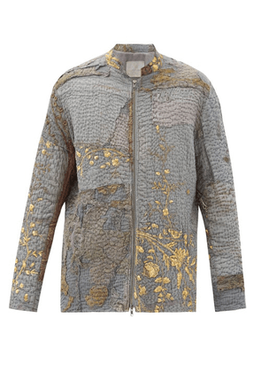 By Walid - Patchwork Embroidered Vintage Silk Jacket - Mens - Grey