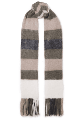 Brunello Cucinelli Fringed Striped Brushed-knitted Scarf Woman Multicolor Size --