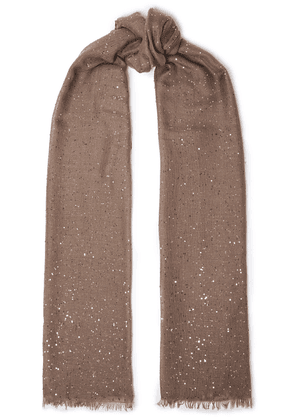 Brunello Cucinelli Frayed Embellished Cashmere And Silk-blend Gauze Scarf Woman Light brown Size --