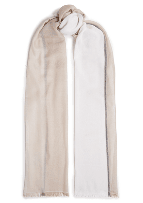 Brunello Cucinelli Bead-embellished Striped Cashmere And Silk-blend Gauze Scarf Woman Beige Size --