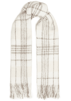 Brunello Cucinelli Fringed Checked Alpaca And Wool-blend Scarf Woman Ivory Size --