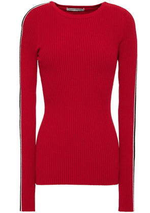 Autumn Cashmere Striped Ribbed-knit Sweater Woman Crimson Size S