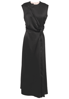 Cedric Charlier Knotted Zip-detailed Satin-crepe Midi Dress Woman Black Size 46