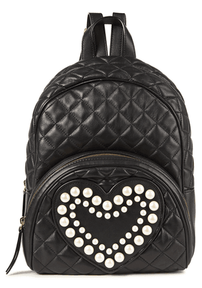Boutique Moschino Faux Pearl-embellished Quilted Leather Backpack Woman Black Size --