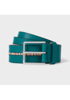 Men's Turquoise Leather Belt With 'Signature Stripe' Insert