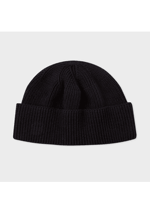 Men's Black Cotton-Blend Red Ear Beanie Hat
