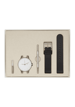 Instrmnt Silver and Black Leather Everyday Watch