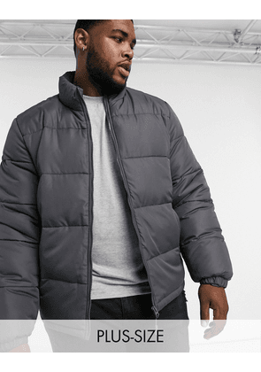 Brave Soul Plus puffer jacket with funnel neck-Grey