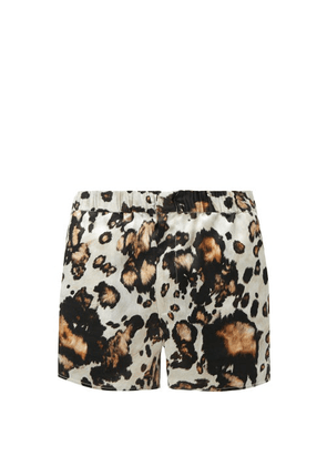 Edward Crutchley - Animal-print Silk-twill Shorts - Mens - Brown Multi