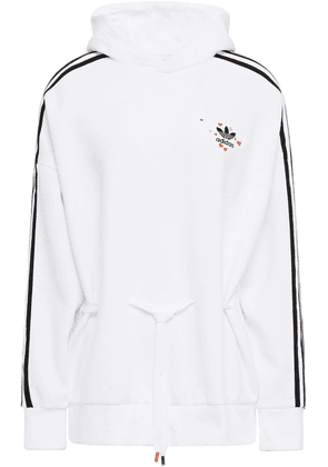 Adidas Originals Embroidered Striped Cotton-blend Jersey Hoodie Woman White Size 32