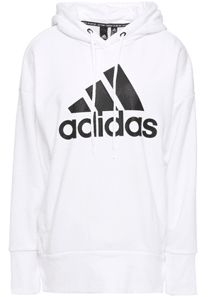 Adidas Printed French Cotton-blend Terry Hoodie Woman White Size XS