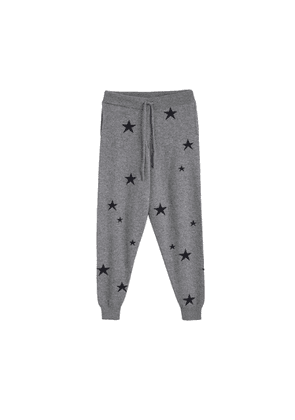 Chinti & Parker Grey Star Cashmere Track Pants