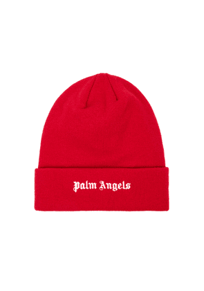 Palm Angels Red Logo-embroidered Wool Beanie