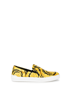Versace Barocco-print Leather Skate Shoes