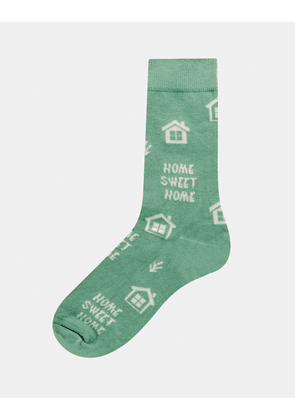 ASOS DESIGN ankle socks with home sweet home design in green