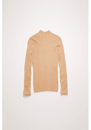 Acne Studios FN-WN-KNIT000293 Cream beige Mock neck ribbed sweater