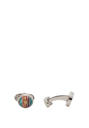 Paul Smith - Button Metal And Resin-striped Cufflinks - Mens - Multi