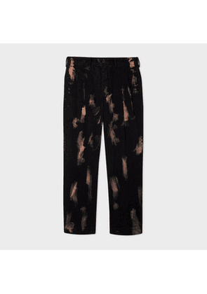Men's Black Bleach Corduroy Red Ear Trousers