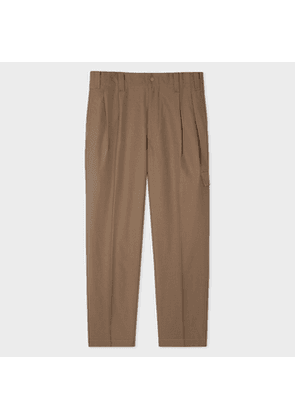 Men's Khaki Wool-Twill Red Ear Pleated Trousers