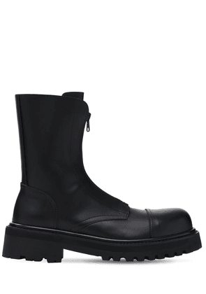 Zip-up Police Leather Ankle Boots