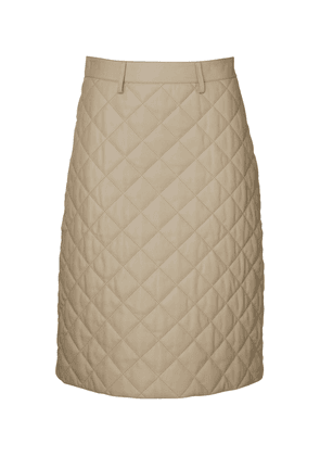 Lona Quilted Leather Midi Skirt