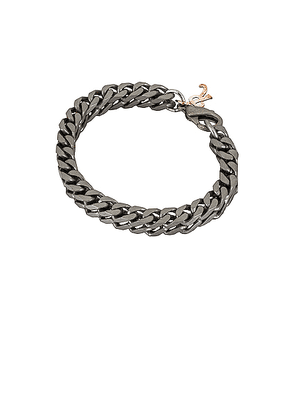 Raf Simons Square Chain Bracelet in Nickle - Metallic Silver. Size all.