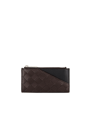 Bottega Veneta Card Case in Fondente & Black - Brown,Black. Size all.