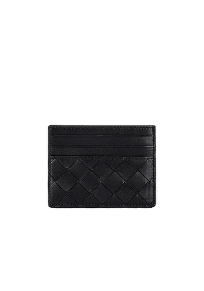 Bottega Veneta Card Case in Black & Silver - Black. Size all.