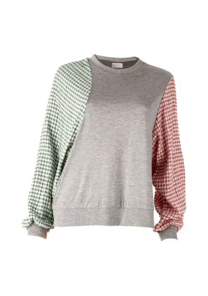 DANEH - Gingham Sleeve Sweatshirt
