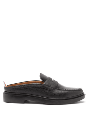 Thom Browne - Backless Grained-leather Penny Loafers - Mens - Black