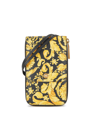 Versace Baroque-print Leather Neck Pouch