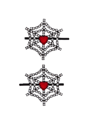 Ashley Williams Red Cobweb and Heart Hair Clips