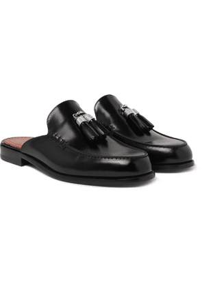 Christian Louboutin - Leather Tasseled Backless Loafers - Men - Black