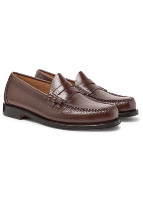 G.H. Bass & Co. - Weejuns Larson Croc-Effect Leather Penny Loafers - Men - Brown