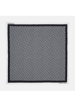 Charcoal Abstract Geometric Print Silk Pocket Square - OS