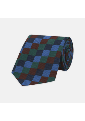 Navy and Blue Checkerboard Jacquard Wool Tie - OS
