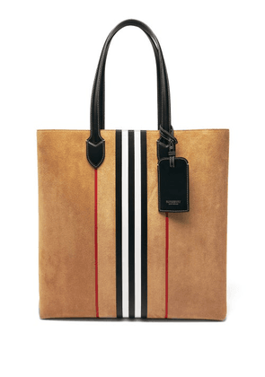 Burberry - Kane Icon-stripe Suede-leather Tote Bag - Mens - Beige
