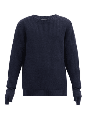 Bed J.w. Ford - Distressed-cuff Wool Sweater - Mens - Navy