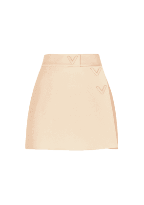 Valentino Ivory Wrap-effect Wool And Silk-blend Shorts