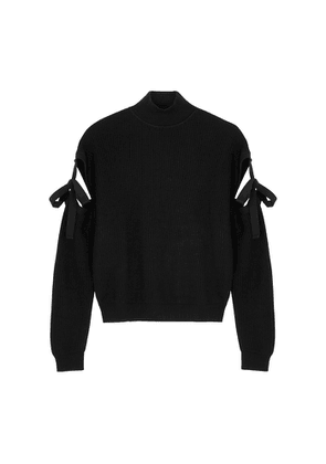 Boutique Moschino Black Cut-out Ribbed Wool Jumper