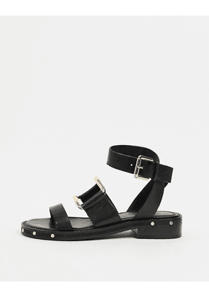 ASOS DESIGN Farley premium leather chunky studded flat sandals in black