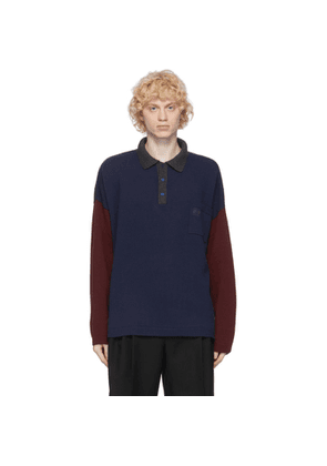 Loewe Navy and Burgundy Cashmere Polo