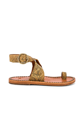 Beek Hawk Sandal in Brown. Size 8,9.